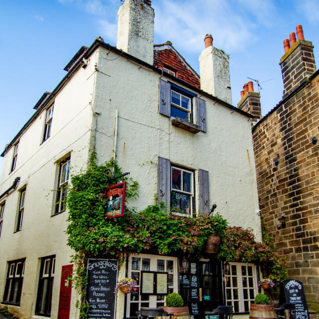 """Robin Hoods Bay, Yorkshire, UK. Smugglers Wine Bar."" stock image"