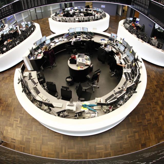 """Handelssaal der Deutschen Boerse"" stock image"