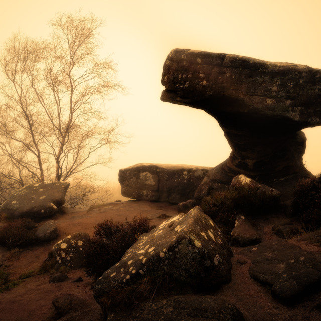 """The Druid's Writing Desk at Brimham Rocks"" stock image"