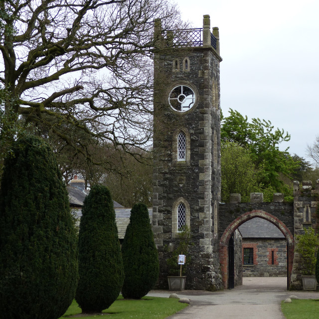 """""""The Bell Tower and stone arch at Rowallane Gardens Co Down"""" stock image"""