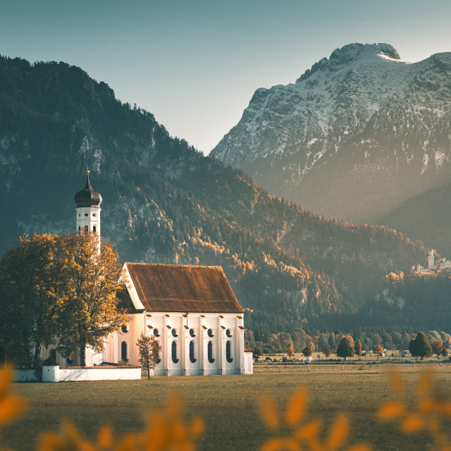 """""""St. Coloman and the castle of Neuschwanstein"""" stock image"""