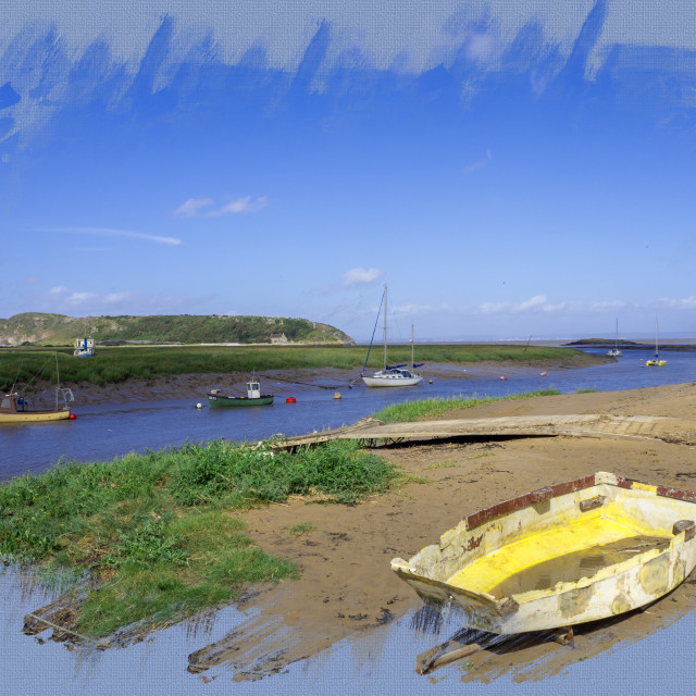 """""""Axe Estuary Weston Super Mare Somerset with Brean Down in the distanceLYMPUS DIGITAL CAMERA"""" stock image"""