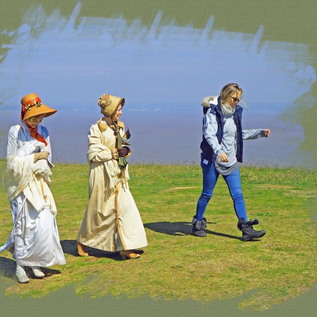 """Filming Sanditon Brean Down Somerset"" stock image"