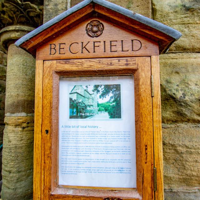 """Robin Hoods Bay, Yorkshire, England. Information display, The Old Police Station, Beckfield."" stock image"