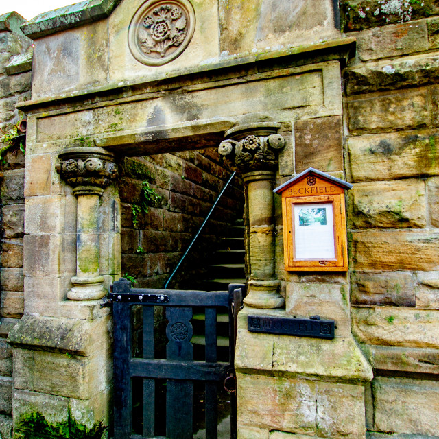 """""""Robin Hoods Bay, Yorkshire, England. Entrance to The Old Police Station, Beckfield."""" stock image"""