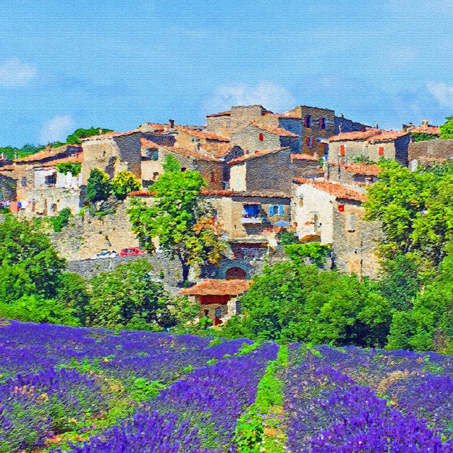 """""""Cereste Village Provence in Painting Photo style"""" stock image"""