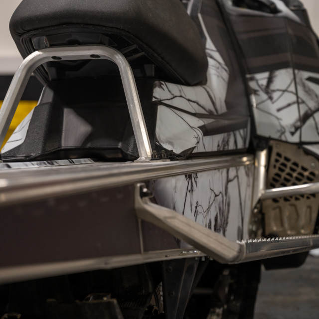 """Closeup of snowmobile"" stock image"