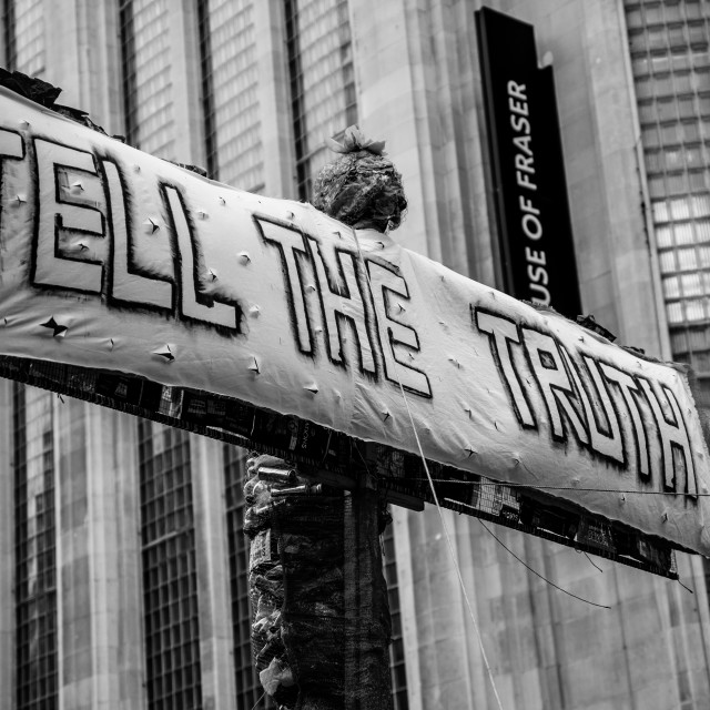 """Tell the Truth Banner Manchester"" stock image"