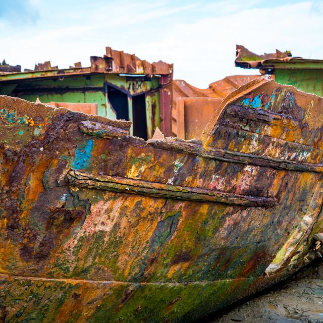 """""""Abandoned Fishing Boat off Fleetwood"""" stock image"""