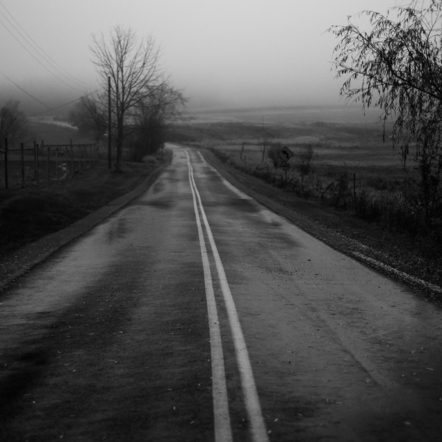 """""""Country Road in Black and white"""" stock image"""