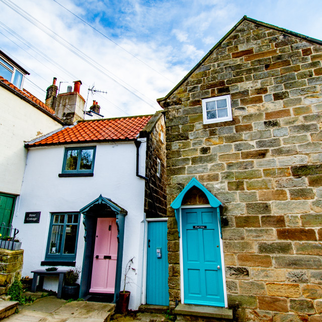 """""""Cottages, New Road, Robin Hoods Bay, Yorkshire, England."""" stock image"""