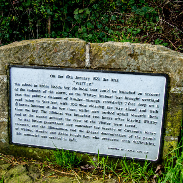 """Memorial Plaque Commemorating the bravery of the Rescuers of the crew of the brig Visiter in Robin Hoods Bay., Robin Hoods Bay."" stock image"