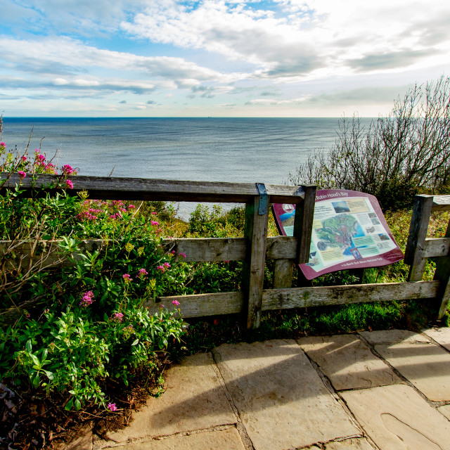 """""""Welcome to Robin Hood's Bay tourist information board."""" stock image"""