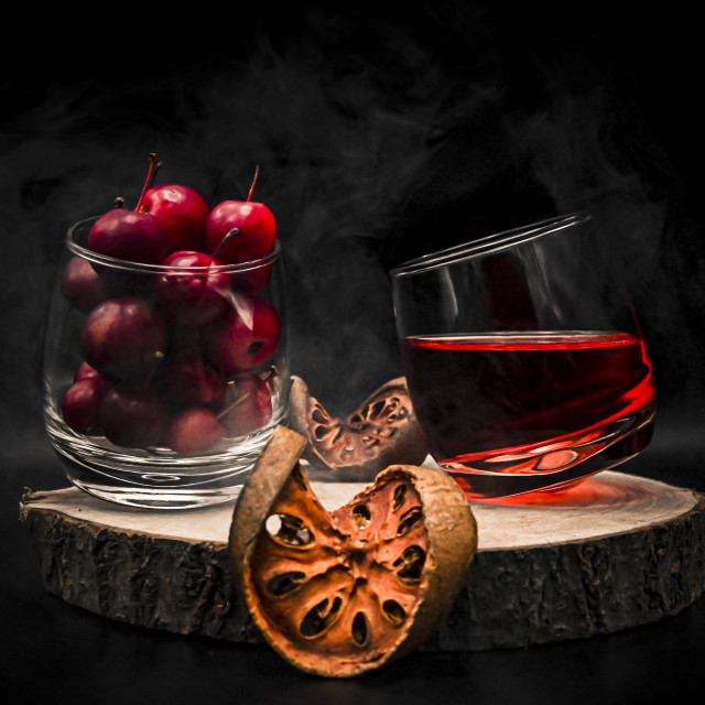 """""""Red cherries with a liquor"""" stock image"""