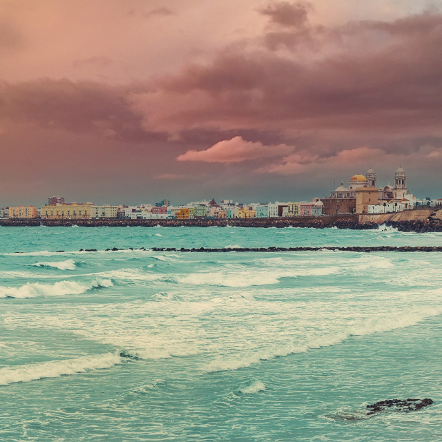 """""""Panoramic view of Cadiz townscape during sunset. Spain"""" stock image"""