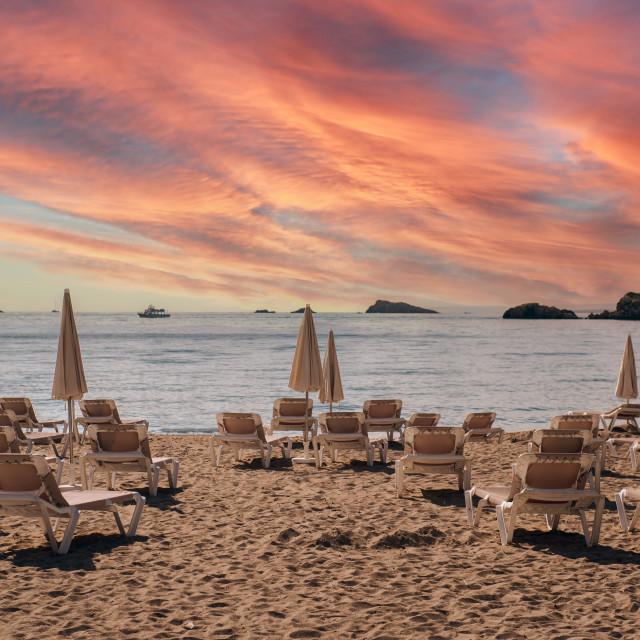 """""""Ibiza coast during sunset. Spain"""" stock image"""