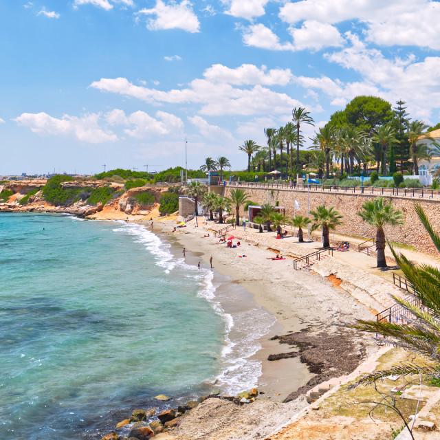 """Sandy beach and Mediterranean sea view, Spain"" stock image"