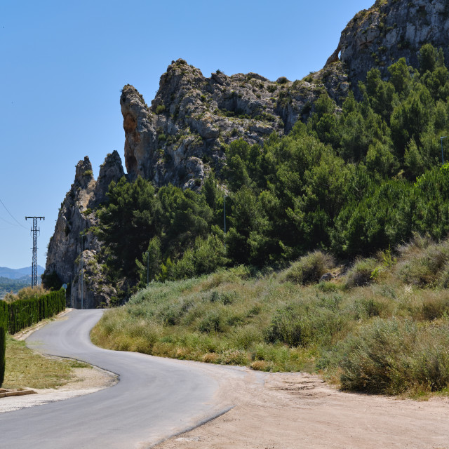 """""""Curving mountain road. Sax, Spain"""" stock image"""