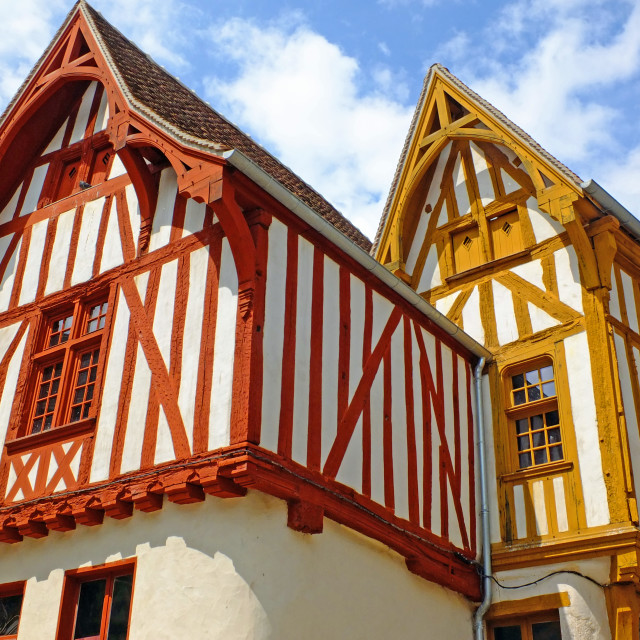 """Beautiful Timber Framed Houses in Noyers France"" stock image"