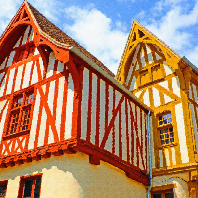 """""""Paint effect photo of Timber Framed houses Noyers France"""" stock image"""