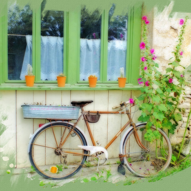 """Soft photo of cycle on riverbank Noyers Burgundy"" stock image"