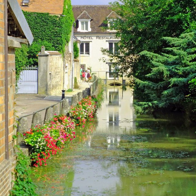 """The river side at Chablis Burgundy France"" stock image"