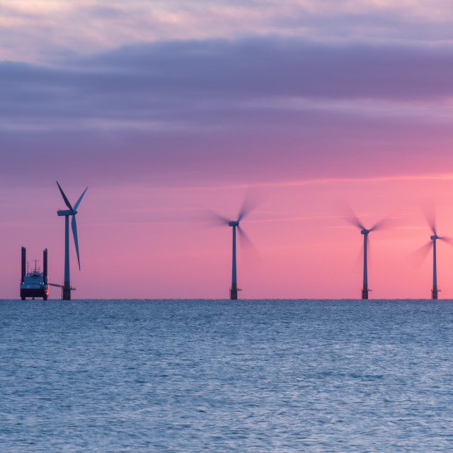 """""""Offshore wind turbines and support vessel i."""" stock image"""