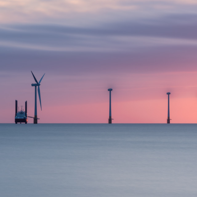 """""""Offshore wind turbines and support vessel ii. Long exposure"""" stock image"""