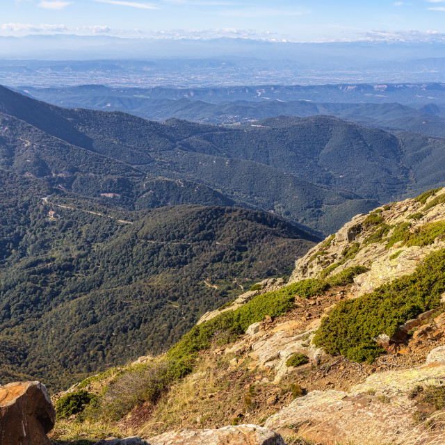 """Spanish mountain peaks in Catalonia, mountain Montseny"" stock image"
