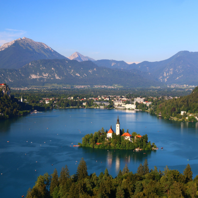 """""""View over the lake Bled"""" stock image"""