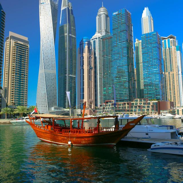 """Dhow at the Dubai Marina"" stock image"
