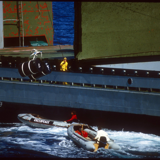 """""""Greenpeace Action against Nuclear Waste Dumping in the Sea 1982"""" stock image"""