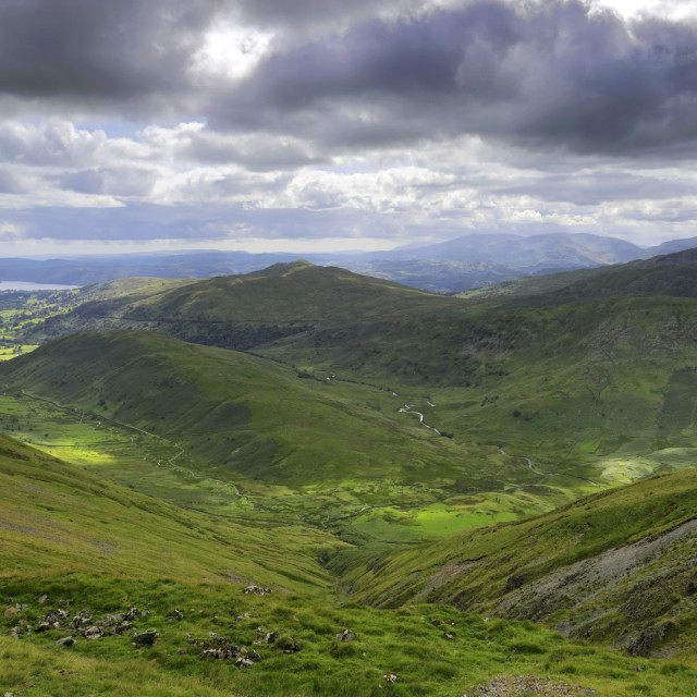 """""""Summer view over Troutbeck village, Troutbeck valley, Kirkstone pass, Lake..."""" stock image"""
