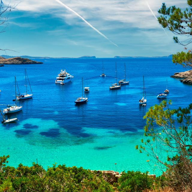 """""""Sailboats at Cala Salada lagoon. Ibiza, Spain"""" stock image"""