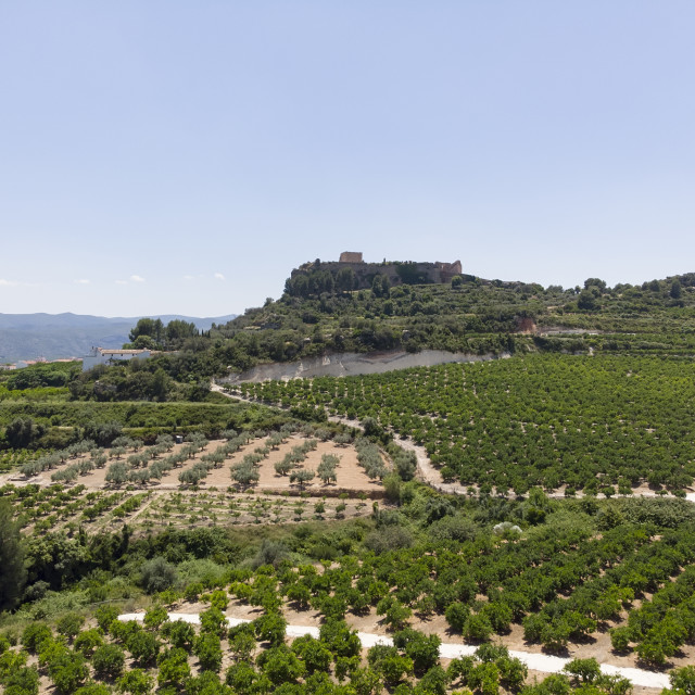 """""""Aerial distant view Montesa castle and agricultural fields, Spai"""" stock image"""