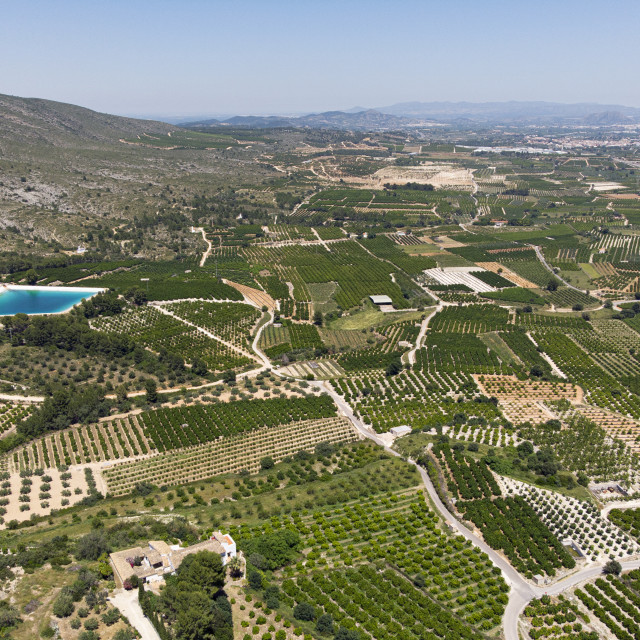 """""""Aerial view Montesa countryside with agricultural fields, Spain"""" stock image"""