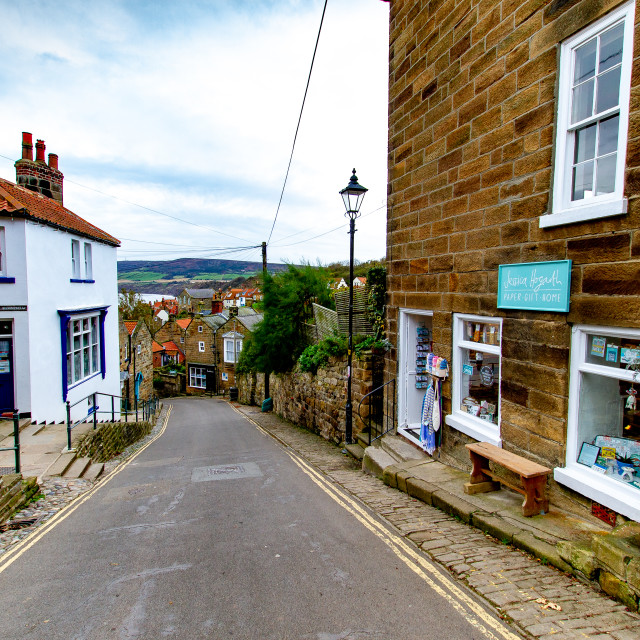 """Bay Bank, Robin Hoods Bay, Yorkshire, England."" stock image"