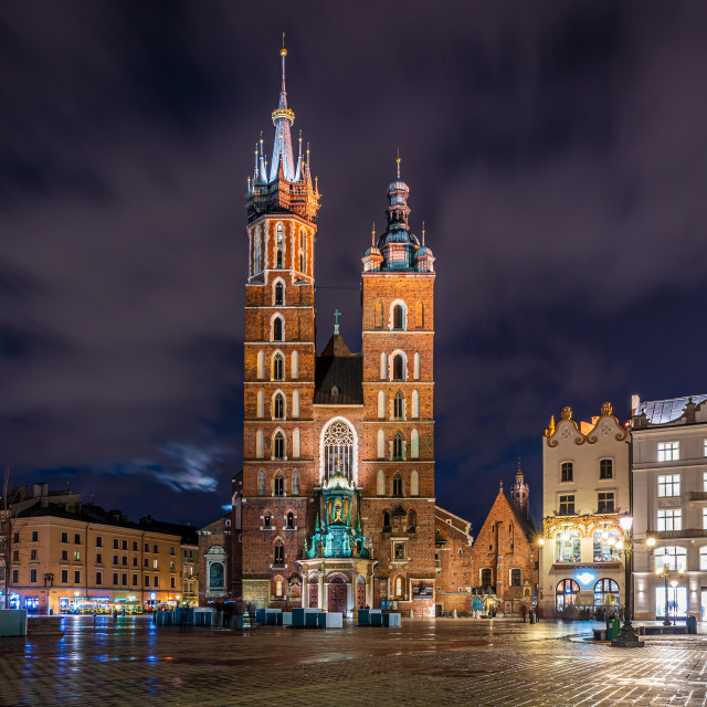 """Krakow market square with St Mary's Basilica at night, Krakow, Poland"" stock image"