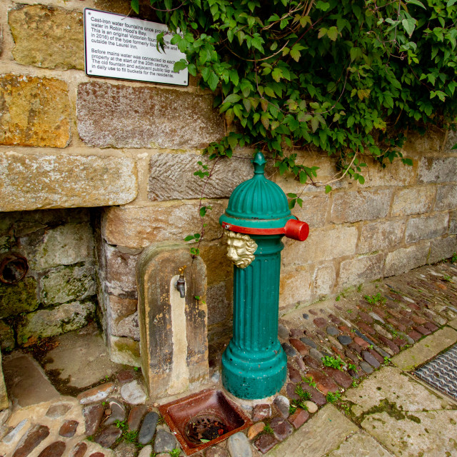 """""""Cast Iron Water Fountain, Robin Hoods Bay, Yorkshire."""" stock image"""