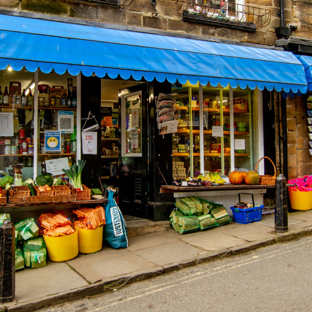 """Shops, New Road, Robin Hoods Bay, Yorkshire."" stock image"