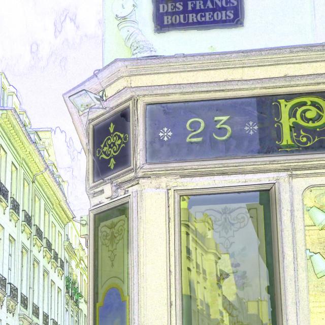 """""""Shop front in Marais Paris France"""" stock image"""