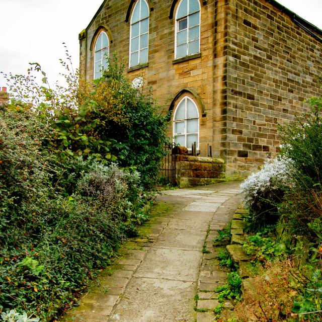 """Congregational Church, United Reformed Church, Fisherhead, Robin Hoods Bay, Yorkshire."" stock image"