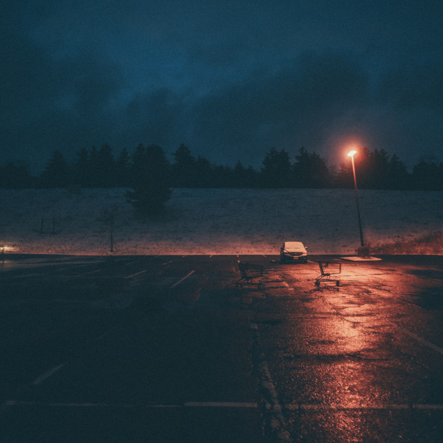 """Winter Parking Lot"" stock image"