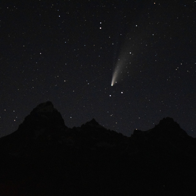 """""""Comet Over the Tetons"""" stock image"""