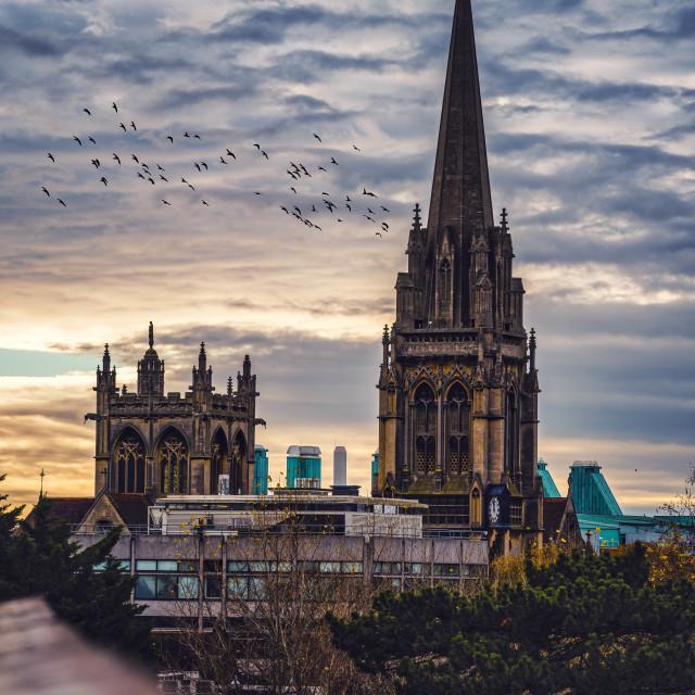 """""""Sunset over The Catholic Church, Cambridge UK."""" stock image"""