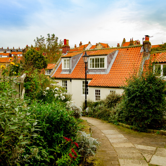 """""""Pathway and Cottages from New Road to Fisherhead, Robin Hoods Bay, Yorkshire."""" stock image"""