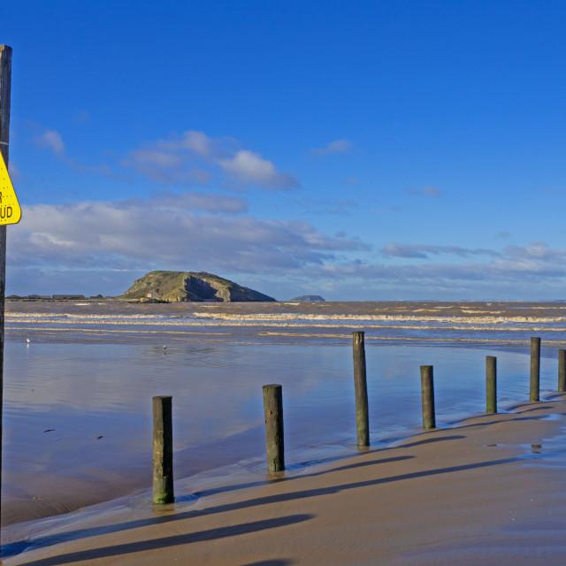 """""""Brean Down from Weston Super Mare Beach"""" stock image"""