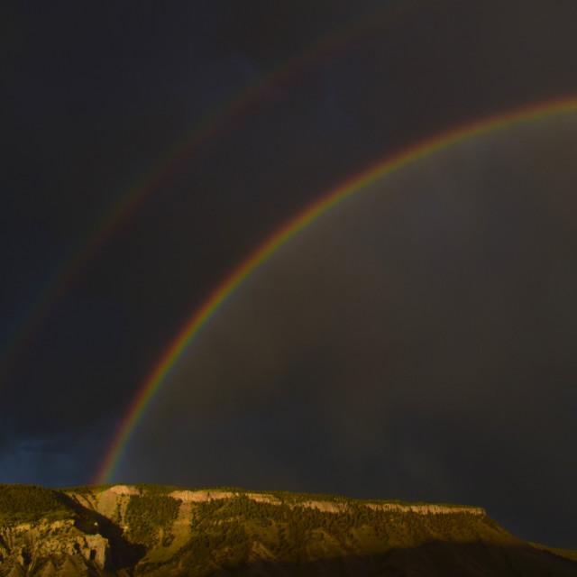 """Rainbow Over Mt Everts"" stock image"