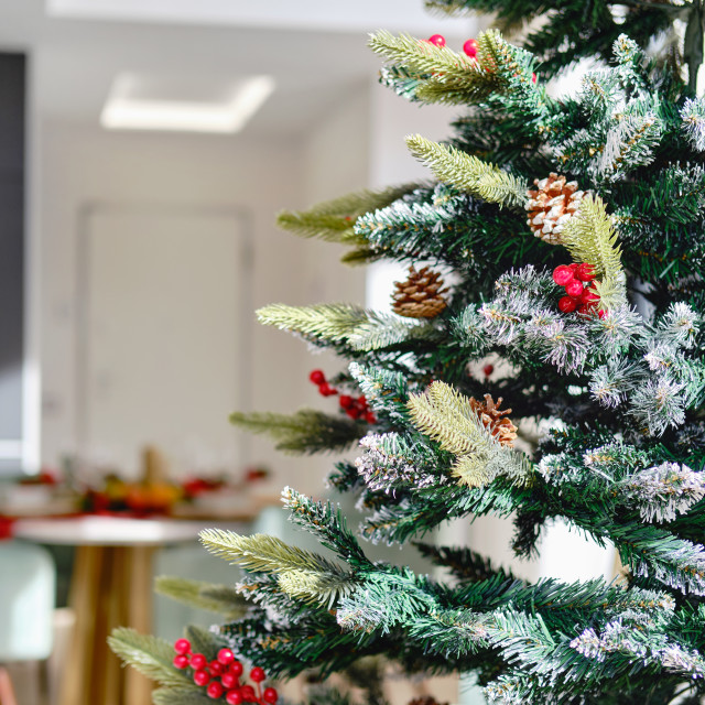 """""""Close up view decorated natural or artificial Christmas Tree"""" stock image"""