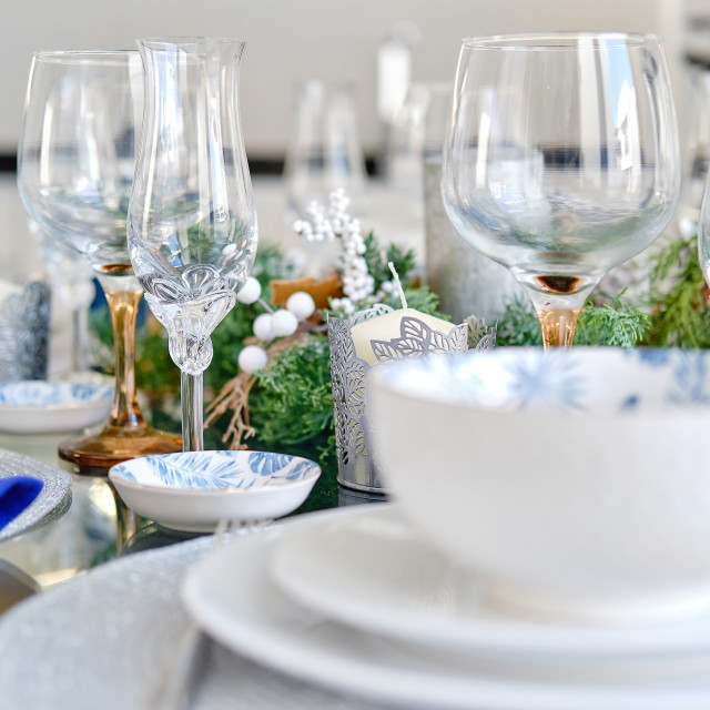 """""""Decorated Christmas dinner table closeup view"""" stock image"""